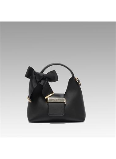 Black Ribbon Aksesuar Detaylı Askılı Mini Çanta Siyah